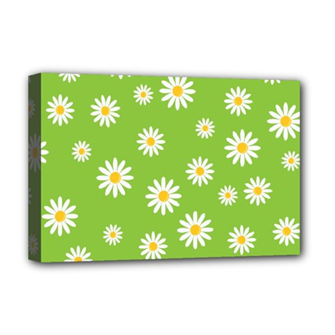 Daisy Flowers Floral Wallpaper Deluxe Canvas 18  X 12   by Celenk