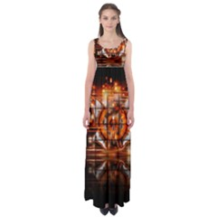 Butterfly Brown Puzzle Background Empire Waist Maxi Dress