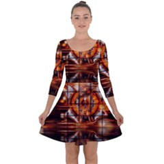 Butterfly Brown Puzzle Background Quarter Sleeve Skater Dress