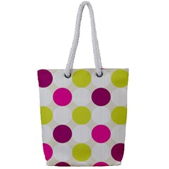 Polka Dots Spots Pattern Seamless Full Print Rope Handle Tote (small)