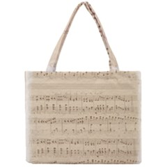 Vintage Beige Music Notes Mini Tote Bag by Celenk