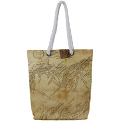 Vintage Map Background Paper Full Print Rope Handle Tote (small)