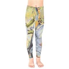 Flower Texture Pattern Fabric Kids  Legging by Celenk