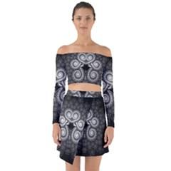 Fractal Filigree Lace Vintage Off Shoulder Top With Skirt Set