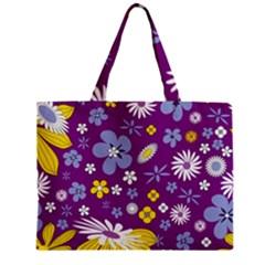 Floral Flowers Zipper Mini Tote Bag by Celenk
