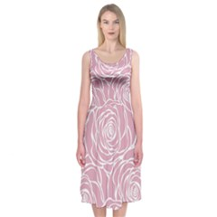 Pink Peonies Midi Sleeveless Dress by 8fugoso