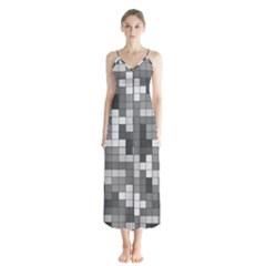 Tetris Camouflage Urban Button Up Chiffon Maxi Dress
