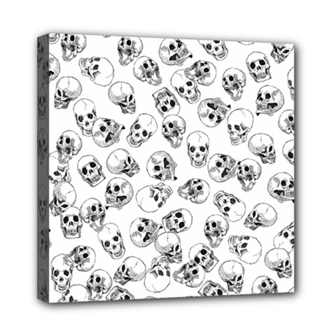 A Lot Of Skulls White Mini Canvas 8  X 8  by jumpercat