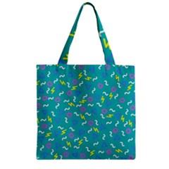 Retro Wave 4 Zipper Grocery Tote Bag