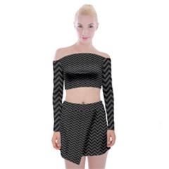Dark Chevron Off Shoulder Top With Mini Skirt Set