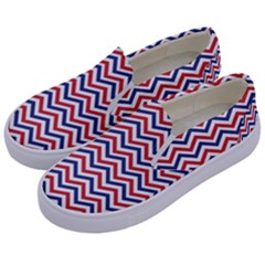 Navy Chevron Kids  Canvas Slip Ons by jumpercat