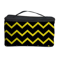 Yellow Chevron Cosmetic Storage Case by jumpercat