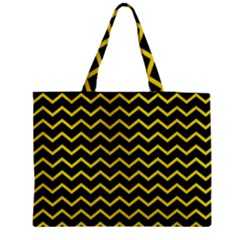 Yellow Chevron Zipper Medium Tote Bag by jumpercat