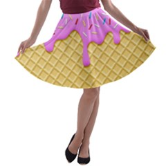 Strawberry Ice Cream A Line Skater Skirt by jumpercat