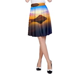 Crater Lake Oregon Mountains A Line Skirt by BangZart