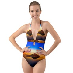Crater Lake Oregon Mountains Halter Cut Out One Piece Swimsuit
