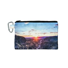 Iceland Landscape Mountains Stream Canvas Cosmetic Bag (small)