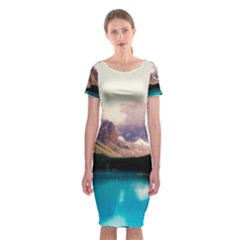 Austria Mountains Lake Water Classic Short Sleeve Midi Dress by BangZart