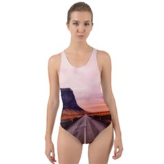 Iceland Sky Clouds Sunset Cut Out Back One Piece Swimsuit by BangZart
