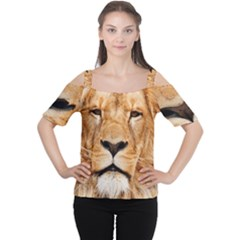 Africa African Animal Cat Close Up Cutout Shoulder Tee by BangZart