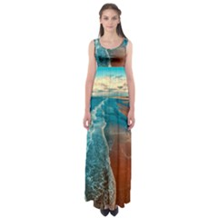 Sea Ocean Coastline Coast Sky Empire Waist Maxi Dress