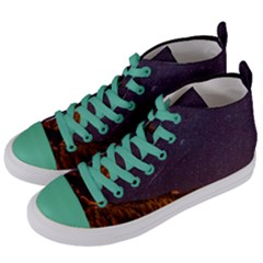 Italy Cabin Stars Milky Way Night Women s Mid Top Canvas Sneakers by BangZart