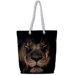 African Lion Mane Close Eyes Full Print Rope Handle Tote (small) by BangZart