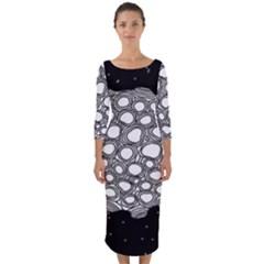 Strange Planet Quarter Sleeve Midi Bodycon Dress by jumpercat