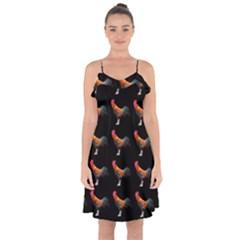 Background Pattern Chicken Fowl Ruffle Detail Chiffon Dress