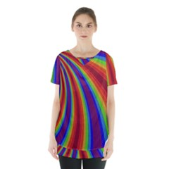 Abstract Pattern Lines Wave Skirt Hem Sports Top by BangZart