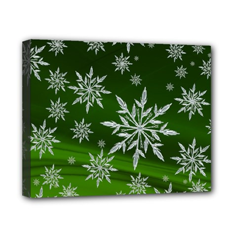 Christmas Star Ice Crystal Green Background Canvas 10  X 8  by BangZart