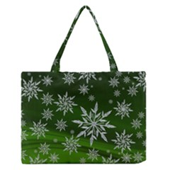 Christmas Star Ice Crystal Green Background Zipper Medium Tote Bag