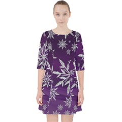 Christmas Star Ice Crystal Purple Background Pocket Dress by BangZart