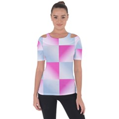 Gradient Blue Pink Geometric Short Sleeve Top