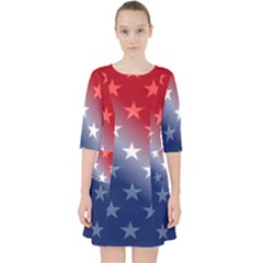 America Patriotic Red White Blue Pocket Dress by BangZart