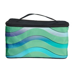 Abstract Digital Waves Background Cosmetic Storage Case by BangZart