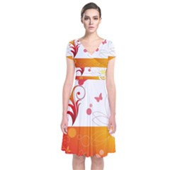 Spring Butterfly Flower Plant Short Sleeve Front Wrap Dress by BangZart