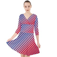 Dots Red White Blue Gradient Quarter Sleeve Front Wrap Dress