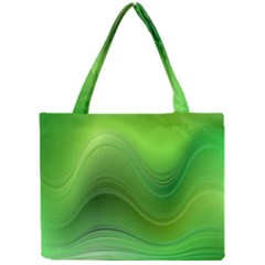 Green Wave Background Abstract Mini Tote Bag by BangZart