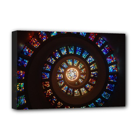 Stained Glass Spiral Circle Pattern Deluxe Canvas 18  X 12   by BangZart