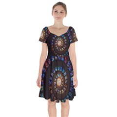 Stained Glass Spiral Circle Pattern Short Sleeve Bardot Dress