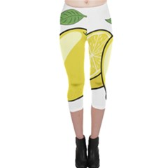 Lemon Fruit Green Yellow Citrus Capri Leggings