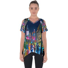 Abstract Vibrant Colour Cityscape Cut Out Side Drop Tee