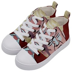 Donald Trump Pop Art President Usa Kid s Mid Top Canvas Sneakers by BangZart