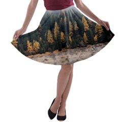 Trees Plants Nature Forests Lake A Line Skater Skirt by BangZart