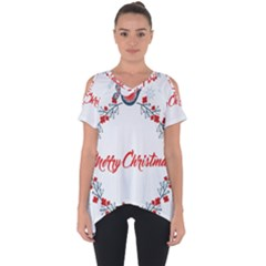 Merry Christmas Christmas Greeting Cut Out Side Drop Tee