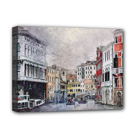 Venice Small Town Watercolor Deluxe Canvas 16  X 12   by BangZart