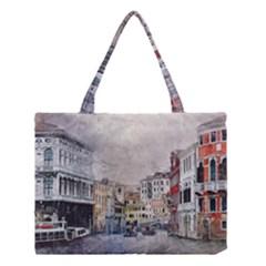 Venice Small Town Watercolor Medium Tote Bag by BangZart