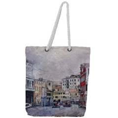 Venice Small Town Watercolor Full Print Rope Handle Tote (large) by BangZart