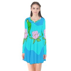 Frog Flower Lilypad Lily Pad Water Flare Dress